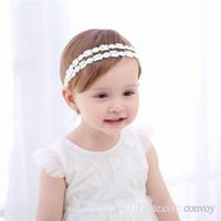 Wholesale Baby Headbands Ribbon Lace - New Baby Girls Headbands Korean Princess Pearl Rhinestone lace Tulle Headwear Kids Ribbon Hairbands Children Hair Accessories KHA397