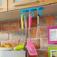 Wholesale Swing Hangers - Wholesale- Six hooks candy-colored cabinets kitchen cabinets wall cabinet following a swinging hook wall hook cabide hanger