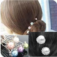 Wholesale diamante hair accessories - Hair Accessories Pearls Jewelry Wedding Bridal Pearl Hairpins Flower Crystal Rhinestone Diamante Hair Pins Clips Bridesmaid Women Headbands