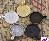Wholesale Round Trays Bronze - 25mm Circular bezel Pendant Gunmetal Antique Silver Bronze Round Bezel Setting Charm, Link Trays Pendant Jewelry Findings You can choose
