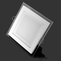 Wholesale Downlight Adapter - Wholesale- 18 Watt LED Panel Downlight Square Glass Panel Lights High Brightness Ceiling Recessed Lamps AC85-265 With adapter