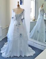 Wholesale Neckline Corset - Vintage Celtic Ball Gown Wedding Dresses White and Pale Blue Bridal Gowns Scoop Neckline Corset Long Bell Sleeves Appliques Flowers