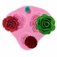 moldes de pastel de silicona en forma de flor al por mayor-Al por mayor-Molde de la decoración de la torta 3D Molde de pastel de goma de silicona Mini Rose Flower 4 Forma Pasteles Fondant Moldes de decoración Herramientas de la hornada