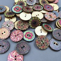 Wholesale Vintage Buttons Bulk - Bulk Sale 100pcs Mixed Vintage Colorful Flowers 25mm Wood Buttons Sewing Craft Scrapbooking DIY