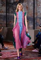Wholesale Dress Frills - Hot stand collar blue purple green contrast color patchwork flouncing ruffles frills pleated dress big show catwalk full dress