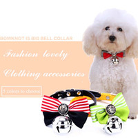 Wholesale Wholesale Big Clothing Leather - New Fashionable Cute Dog Cat Pet Bow Tie Collar with A Big Bell Dog Cat Pet Festival Clothing Accessories 5 Color XS-S