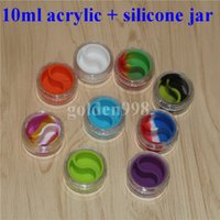 Wholesale Silcone Toys - Rich color 10ml clear acrylic jar wax concentrate containers, Plastic container with silcone inner Non-stick silicone Dab Storage Jars