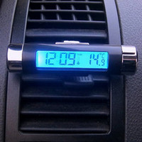 Wholesale Digital Thermometers For Cars - Wholesale- 1 PC New Black Digital LCD Clip-on Clock Thermometer with Blue Backlight for Car Automotive Thermometers Clock G0608 t10