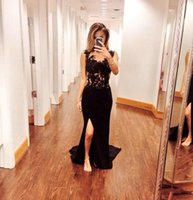 2017 Sexy Glamour Bateau Prom Abendkleider Sheer See-Through Lace Perlen Sequins Top Schwarz Slit Side Meerjungfrau Chiffon Formal Party Dress