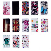 Wholesale Iphone Wallet Uk - Owl Flower Wallet UK USA Flag Eiffel Tower Leather Pouch Case for iphone 7 plus 6 6s plus 5S Samaung Galaxy S8 plus