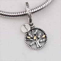Wholesale Genuine 925 Silver Pendants - 2017 New Genuine 925 Sterling Silver Family Tree Crystal Pendant Beads for Women Fit Pandora Charms Bracelet Necklace DIY Jewelry Making