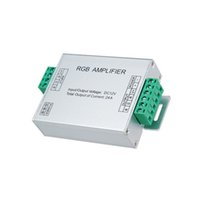 controladores repetidores al por mayor-Led controlador de amplificador RGB de entrada dc 5v 12V 24V 24A Repetidor de señal 120w 288w 576W para 3528/5050 RGB Led Strip Aluminio Caja