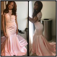 Wholesale Grils Tulle - Pink Satin Black Grils Mermaid Prom Dresses Long African High Neck Evening Party Gowns With Beading vestidos de formatura
