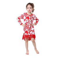 Wholesale Girls Pageant Dress Patterns - Valentine's Girls Pageant Dress Long Sleeve Tassel Girls Clothes Heart Pattern Printed Girls Dress with Belt