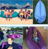 Wholesale Outdoor Inflatable Air Sleeping Bag Portable Sofa Hangout Lounger Air Boat Air Lazy Sofa Inflate Camping Beach Sleeping Bed Hammock