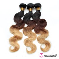 Wholesale Extensions 27 - Human Hair Ombre Body Wave Brazilian Hair Weaves Three Tone 1B 4# 27# Ombre Virgin Human Hair Extensions 3pcs lot