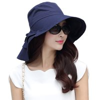 Wholesale Uv Hat Neck Protection - Hot new 2017 brand Women Summer Cap UV Cotton Sun Hat Packable Wide Brim With Neck Cover Cord UPF50 fashion elegant 69085