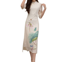 Wholesale Silk Long Cheongsam - Women's Tea Length Cotton Cheongsam Qipao Chinese Traditional Dress Sexy Party dress long and straight with two side vents