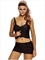 Женская сексуальная Ruched Hip-pack Style 2pcs Tankini Skirted Swimwear Swimsuit Размер: S M L XL XXL XXXL DLM410023