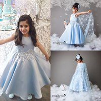 Wholesale Communion Cape - Lovely Blue Flower Girl Dresses Special Occasion For Weddings Appliqued Kids Pageant Gowns Beads Jewel Neck Communion Dress With Cape