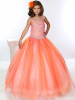 Великолепный цветок Gageant Girl's Gowns Sexy Beading Organza Ruffled Scoop-Neck Ball-Gown Crystal Ruched Little Girl Flower Girls 'Dresses 2017