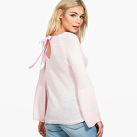 Wholesale Sweaters Butterfly - 2017091920 Fashion Women Sweater Casual Butterfly Long Sleeve Hollow Out Back Sweater Cute Solid Pink O-neck Pullovers
