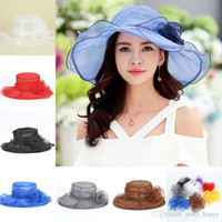 Wholesale Yellow Sun Dresses - Women Church Sun Hat Wide Brim Cap Wedding Dress Tea Party Floral Beach