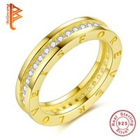 BELAWANG Atacado New fashion Women 925 Sterling Silver Ring GOLD Color Cubic Zircon Finger Ring Forever Love Wedding Band Jóias Unisex