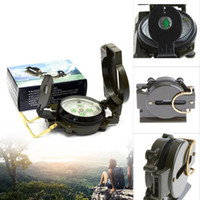 Wholesale Green Military Lensatic Compass - Mini Military Lensatic Watch Pocket Compass Magnifier Army Green For Camping Hunting Marching, Free Shipping Wholesale