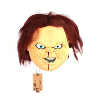 Wholesale Chucky Latex Mask - Wholesale- Full Face Cosplay Creepy Scary CHUCKY latex Mask Horror Masquerade Adult Ghost Movie Mask Halloween Props Costumes Fancy Dress