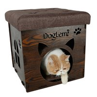 Mats & Pads oval chair - Nature Wooden Pet Cat House Cave and house Chair Cat Bedding Cute Handmade Cat Cave Kennel Beds colors