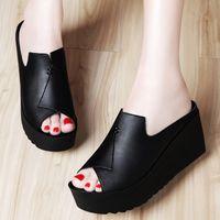 Wholesale Cheap Women Wedges - 2017 flip flop slippers cheap slippers for women luxury open toe wedge summer casual slippers