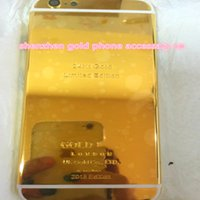 Wholesale metal gold trays - ZG golco 24k Gold Plating Metal White Line Back Housing Door Case Cover With Sim Card Tray Volume Button Mute key Set For iPhone 6 6Plus