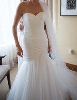 vestidos de encaje de marfil blanco al por mayor-Nueva llegada vestido de novia de sirena de tul acanalado con cordones blanco / marfil Vestidos de novia Vestidos de novia Venta caliente en stock vestido de fiesta curto