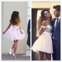 Wholesale Strapless Knee Line Dresses - Hot Sale Pink Color Strapless Sequin With Bow Slash A Line Women Party Dresses 2017 Sexy Sleeveless Knee Length Evening Dresses 324