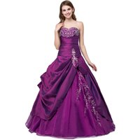 Wholesale Sweetheart Neckline Taffeta Lace - 2017 Purple Embroidery Cheap Quinceanera Dresses Debutante Ball Gowns With Sweetheart Neckline Taffeta Formal Prom Quinceanera Dresses