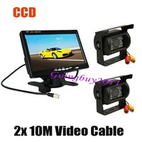 "Wholesale Cables For Ccd Camera - 2x CCD IR Car Reverse Camera with 10M cable Waterproof + 7"" LCD Monitor Car Rear View Kit for Bus Long Truck Free Shipping"