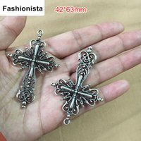 Wholesale Large Cross Charms - 63mm x 42mm Elegantly Detailed Substantial Filigree Crosses in Antique Silver Color,Large Filigree Cross Pendant Charms 20PCS