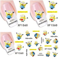 Wholesale Cartoon Design Nail Stickers - 1 Aheet XF1560 Cartoon Watermark Water Transfer Design Yellow Despicable Minion Tip Nail Art Sticker Nails Decal Manicure Tools