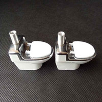 Wholesale Bowling Machines - metal smoking pipe Hand Toilet Pattern tobacco cigarette pipes snuff snorter grinder Accessories rolling machine Dabber Bubbles Bowl tool