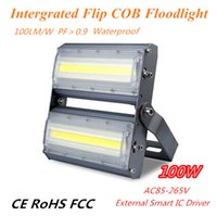 Wholesale 100W Flip COB Linear Floodlight lm w Factory Direct Sales COB Wall Wash Light IP66 for Yard Garden Billboard Lighting AC110V V V