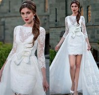 Lace Short Beach Wedding Dress for sale - Vintage Full Lace Sheath Overskirts Wedding Dresses 2017 3 4 Long Sleeves Appliques Sheer Jewel Neck Backless Short Bridal Gowns