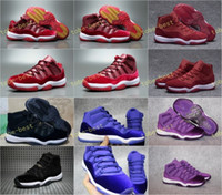 Wholesale Women Snow Boots Size 11 - Retro 11 Low High Velvet Heiress Night Maroon Men Women Basketball Shoes Black Blue Purple Wine Red 11s Velvet Heiress Sports Size US 5.5-13
