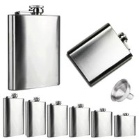 Vente en gros-Boom Fashion 6 tailles 4oz-10 oz poche en acier inoxydable Hip Flask Retro Whiskey Flacon Liquor Screw Cap avec entonnoir dans Vovotrade