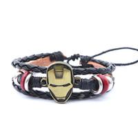 Wholesale Iron Man Movie Helmet - Movie Jewelry Iron Man Bracelets Alloy Iron Man Helmet Leather Bracelets Retro Leather Bracelets