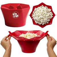 Wholesale Microwave Bowls - DIY Silicone Microwave Popcorn Maker Bucket Popcorn Bowl Popper Maker Container Healthy Snack Home New Baking Tools