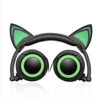 Wholesale Cat Ears Headphone - Foldable Flashing Glowing Cute Cat Ear Headphones Gaming Headset Earphone with LED light For PC Laptop Computer Mobile Phone