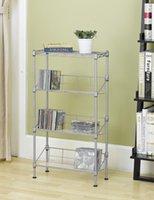Wholesale Metal Cds - New Silver 4-Tier Media Rack CD Rack Book Stand Racks Organizer Storage Rack