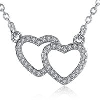 Wholesale Love Gift Two Lovers - BELAWANG Wholesale Cubic Zirconia Two Heart Necklace 925 Sterling Silver Necklace Pendant for Women Lovers Valentine's Day Jewelry Gift
