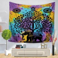 Cartoon 24 Style Indian Elephant Mandala Tapestry Hippie Wall Hanging Tapas Beach Throw Towel Gypsy Bed Sheet Home Decor 150 * 130cm
